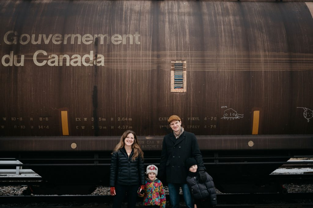 The family hanging out a the train yard in Vermont USA